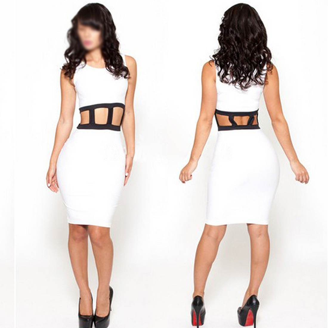 Solid White Cut Crop Waist Sleeveless Sexy Clubwear Night Party Bandage Dress
