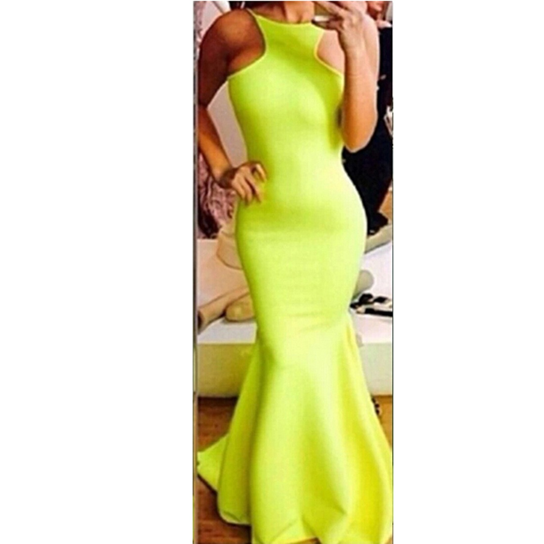 Womens Falbala Long Maxi Gown Evening Cocktail backless Fishtail Dress size S-L