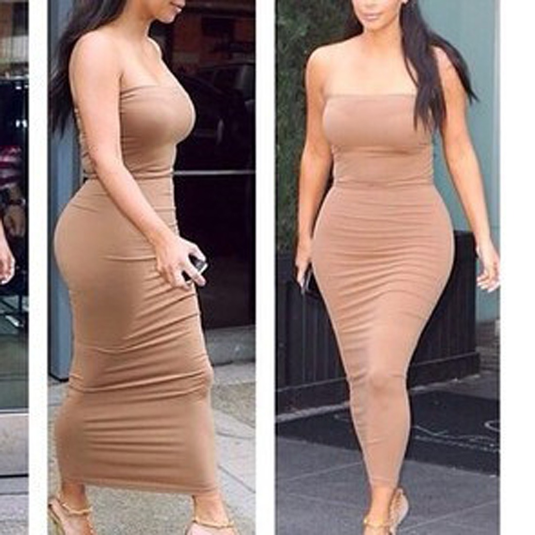 WOMENS Strapless slim party casual club bodycon Long maxi DRESS ...