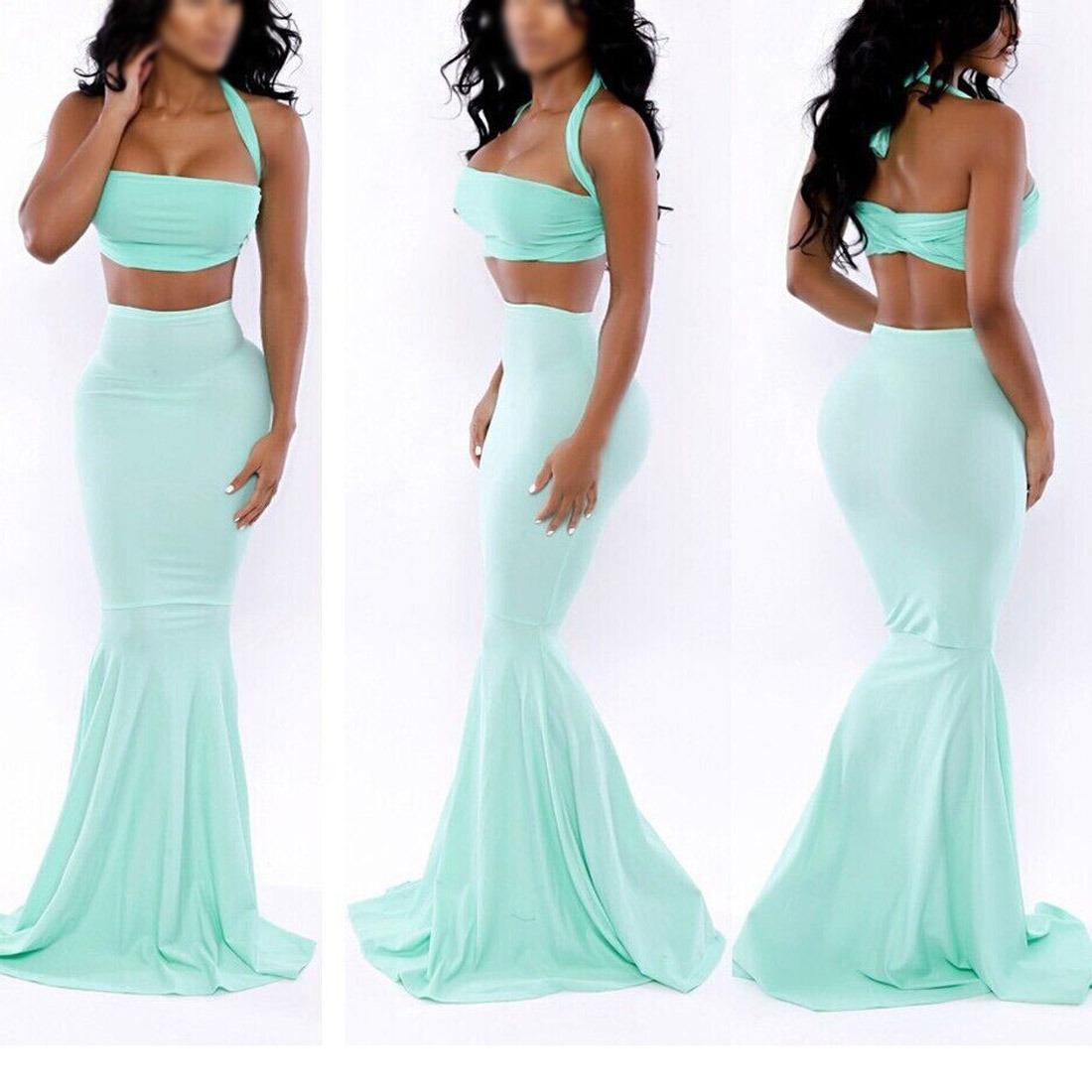 light blue Womens Mermaid Maxi Skirt Halter neck Tops fishtail Skirt jupe ????