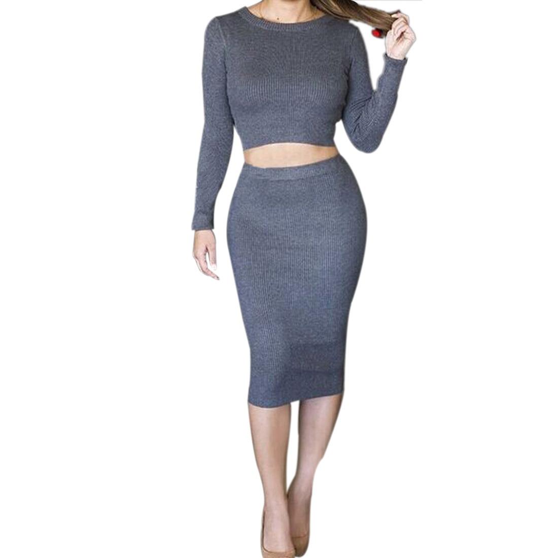 Womens 2 Piece long sleeve thick Bodycon Crop Tops Skirt Sweater Dress jupe