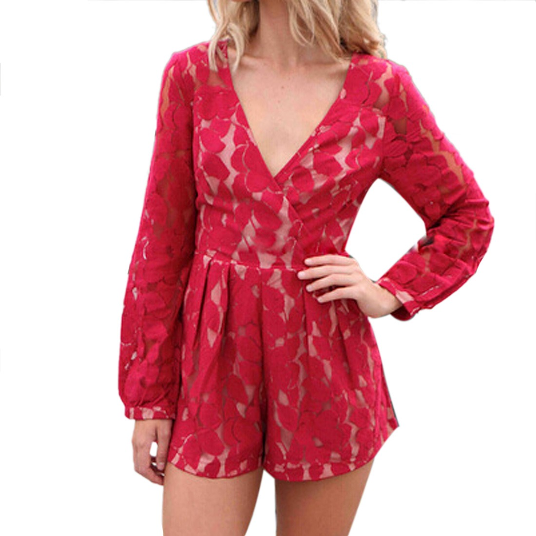 Women long sleeve Deep V Neck Pleat Lace Shorts Romper ...