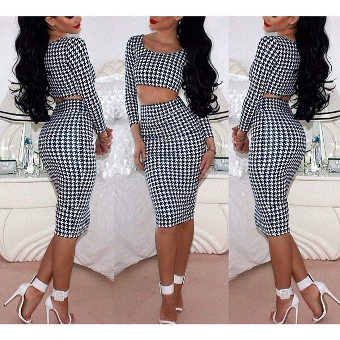 New Women Houndstooth Print Midriff Midi Skirt Tops Set Long Sleeve Slim Dress