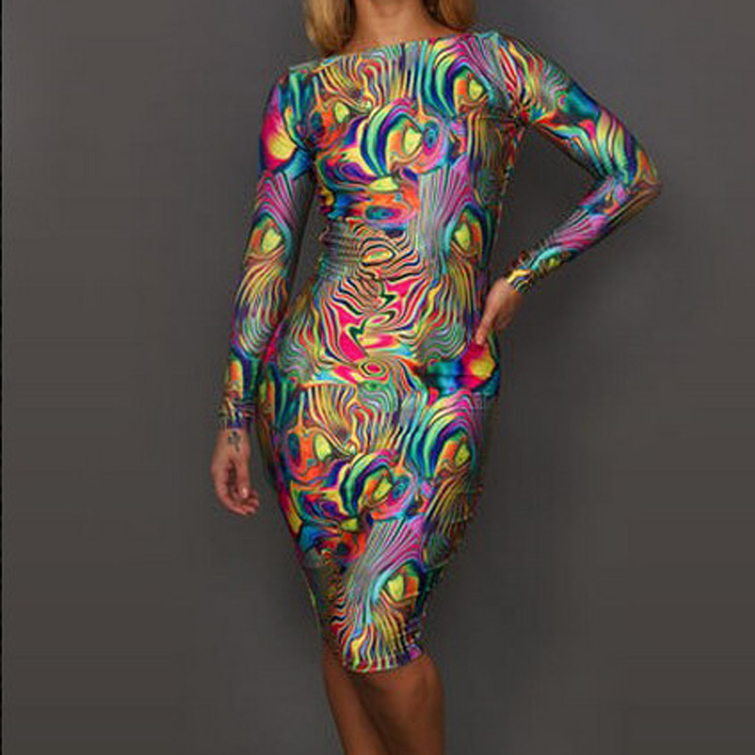 Multi Color Painting Backless women long sleeve Body-Con party club midi Dress