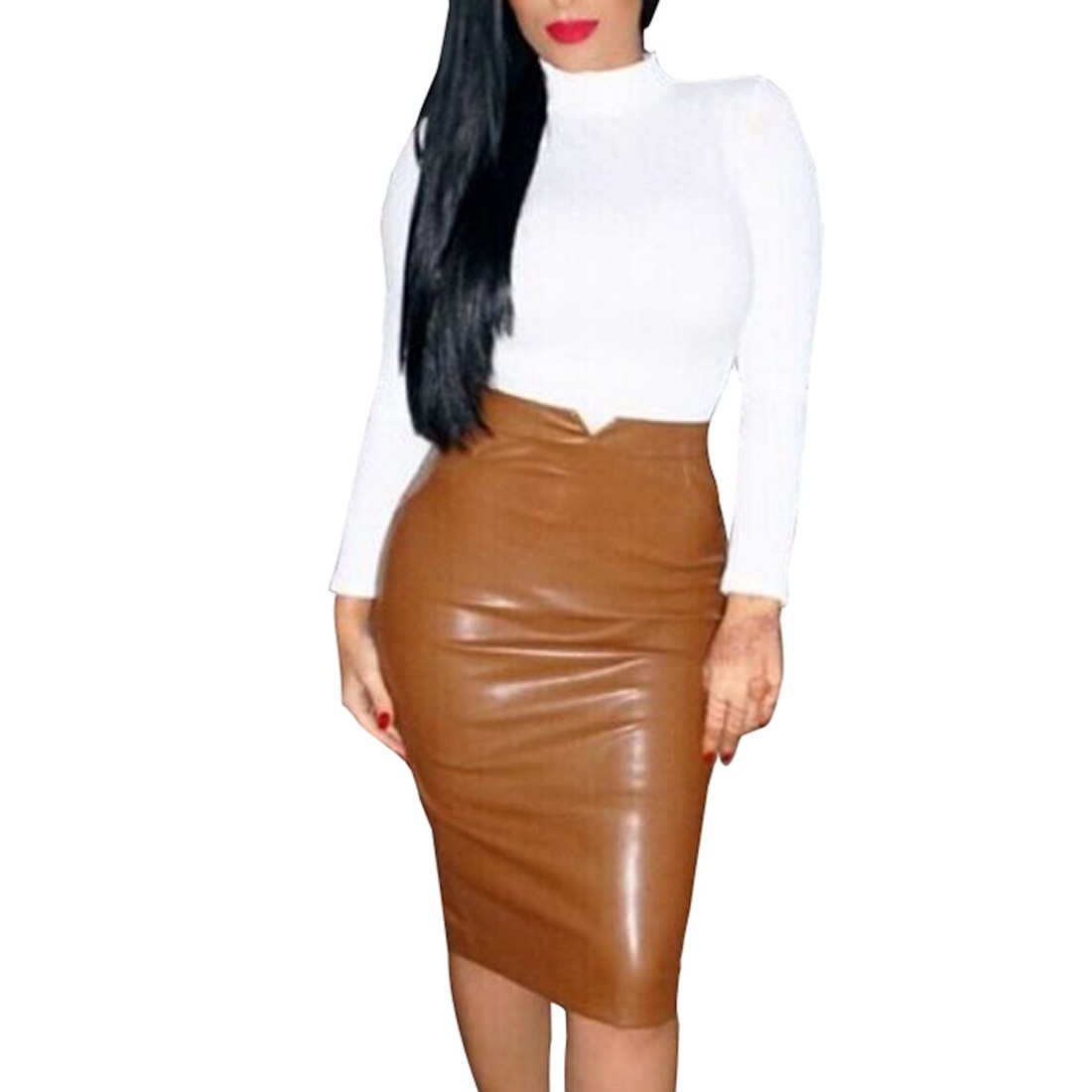 Fashion Women Pu Leather Office Lady Business Slim Pencil Skirts High Waist Sml