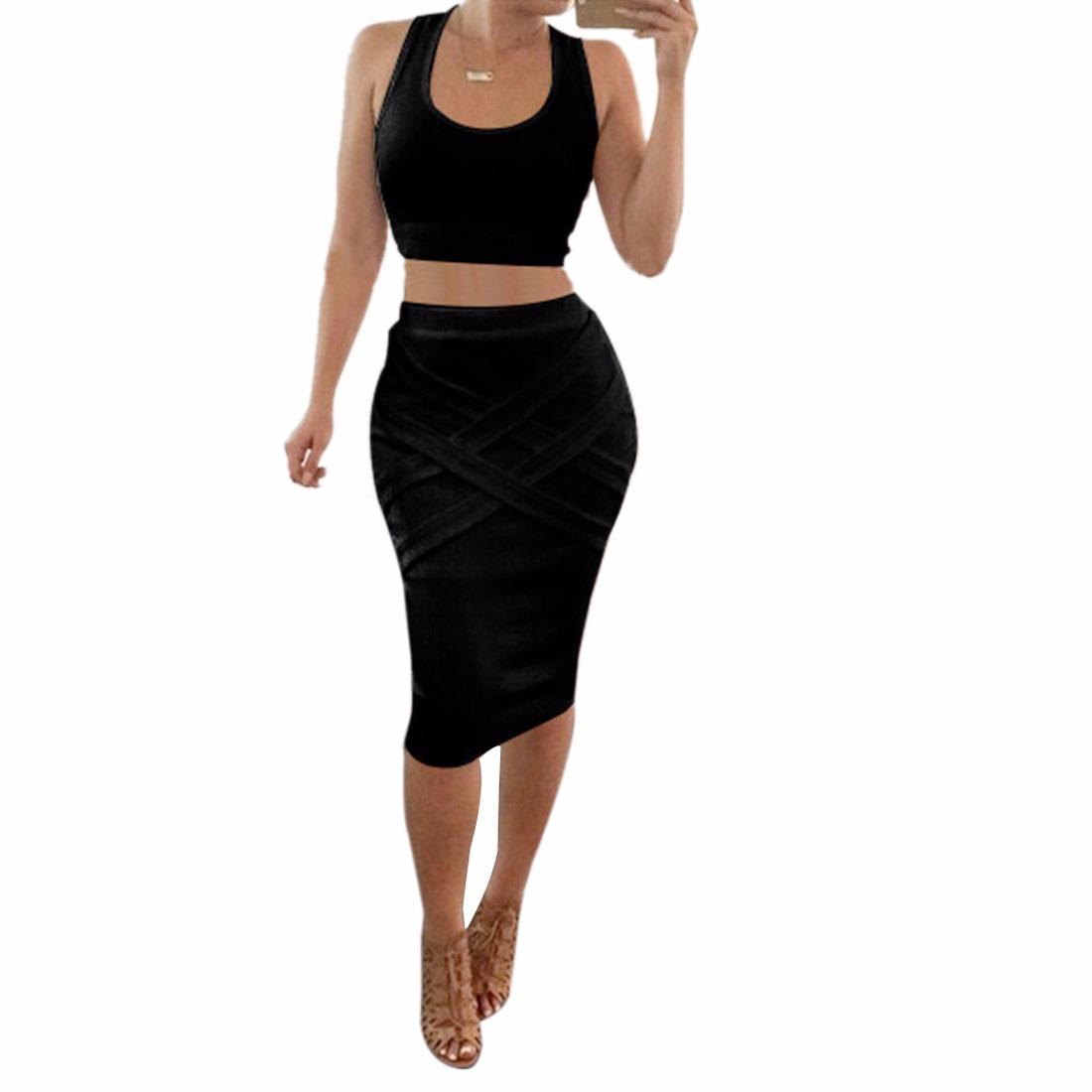 crop top midi pencil skirt highwaist two 2