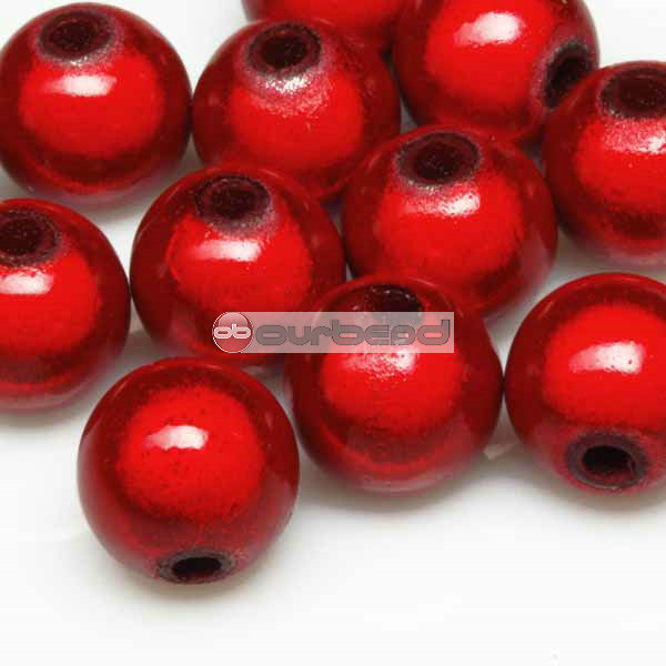 10g-Approx-40pcs-Acrylic-Red-Round-Charm-Bead-8mm-AR351