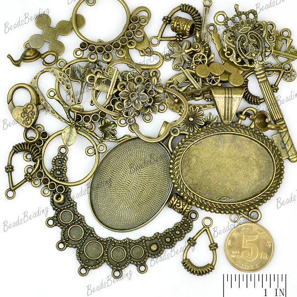 Mixed Tibetan Silver Antique Brass Vintage Bronze Charms Pendants Findings Beads