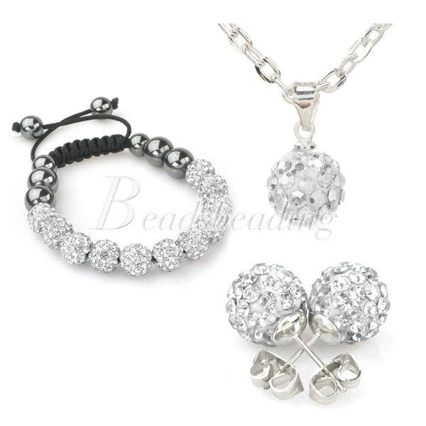 New SET Match Bracelet Necklace Earrings Clay Czech Crystal Disco Ball