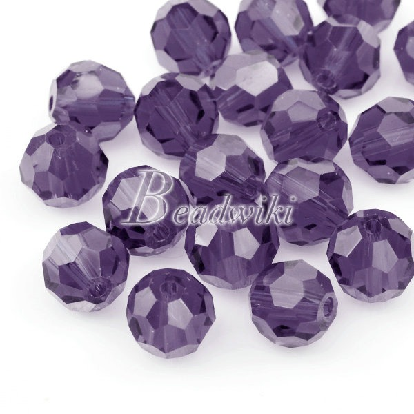 20-Loose-Faceted-Cut-Round-Purple-Pink-Blue-Crystal-Glass-Bead-Lots-8x8mm-CR07