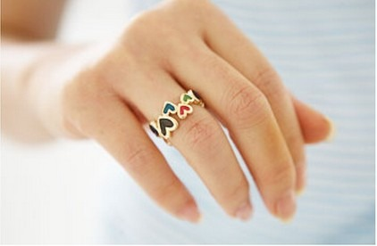 Cute Lovely Korean Style Fashion Heart Ring Wholesale Free Shipping 3 Colors