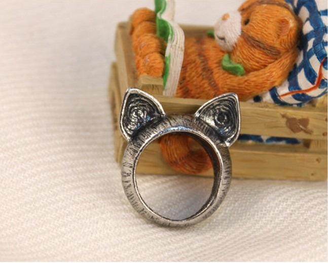 New Vintage Retro Cute Lovely Classic Cat Antique Brass/Silver Ring Wholesale