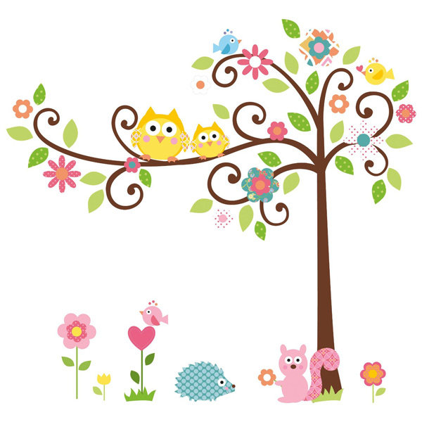 Large Owl Tree Squirrel Removable Vinyl Wall Stickers Decal Kid Room Home Decor
