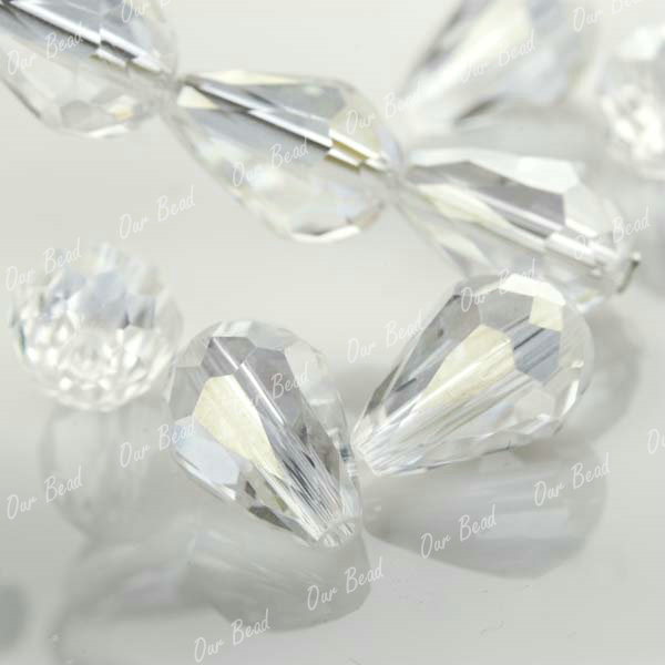 20-Clear-Swarovski-Crystal-Glass-Teardrop-Bead-AB-CR160