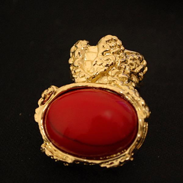 NEW-European-Retro-Vintage-Gold-Ova-Artificia-Gem-Stone-Turquoise-Ring-Red-Black thumbnail 5