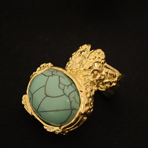 NEW-European-Retro-Vintage-Gold-Ova-Artificia-Gem-Stone-Turquoise-Ring-Red-Black thumbnail 7