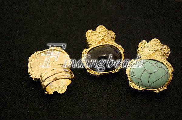NEW-European-Retro-Vintage-Gold-Ova-Artificia-Gem-Stone-Turquoise-Ring-Red-Black thumbnail 2