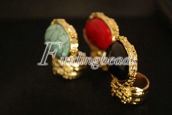 NEW-European-Retro-Vintage-Gold-Ova-Artificia-Gem-Stone-Turquoise-Ring-Red-Black thumbnail 3