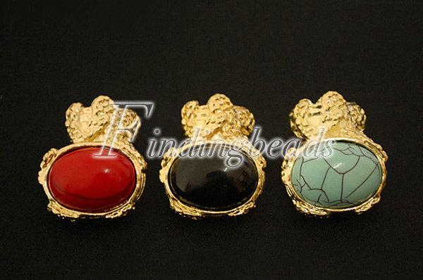 NEW-European-Retro-Vintage-Gold-Ova-Artificia-Gem-Stone-Turquoise-Ring-Red-Black thumbnail 4