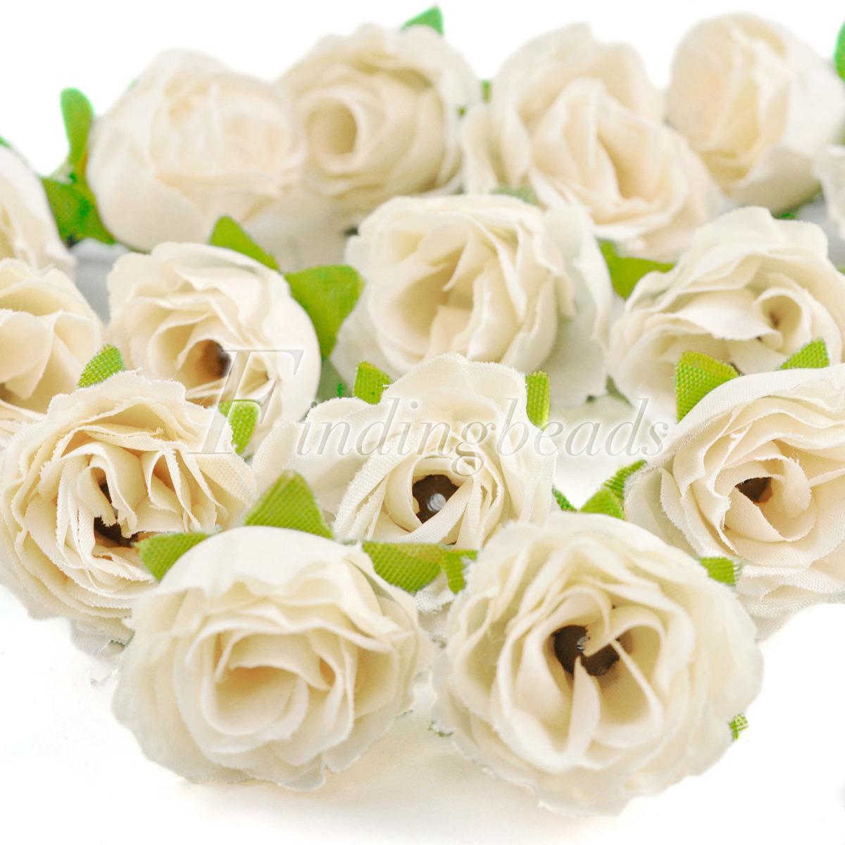 50pcs Fake DIY Small Tea Bud Silk Beautiful Clips Bridal Wedding Flower Heads