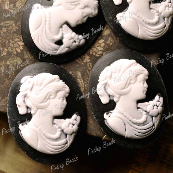 top-Oval-Resin-Vintage-Style-Cameo-Lady-Portrait-Characters-colourful-Cabochons