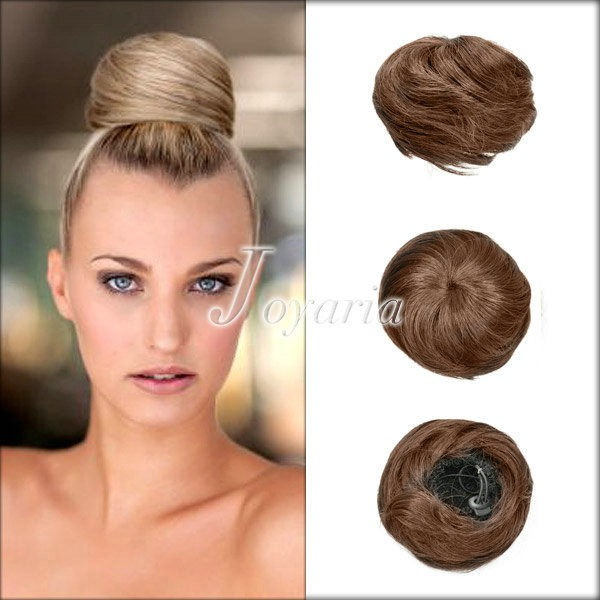 Women HOT Clip-on Dish Hair Bun Tray Ponytail Hairpiece Wig Scrunchie JAHA31-34