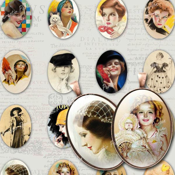 Collage-Sheet-Digital-Fotocollage-Antik-Anhanger-Frauen-Fassungen-Bead-KPCS011