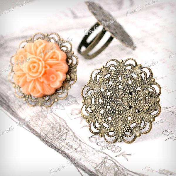 10-Stk-Antik-Bronze-Ring-Blumen-Fassungen-Schmuckteile-Perlen-Bead-HOT-MB0623