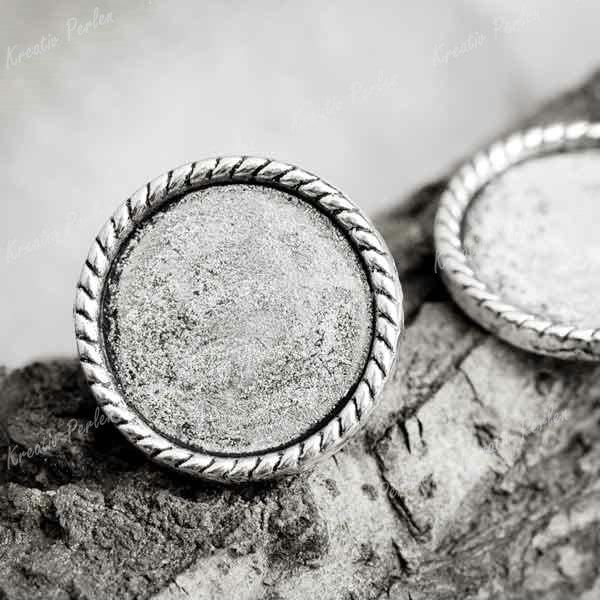 Tibet-Silber-15-Stuecken-Rund-Fassungen-Perlen-KP-TS4216-Charms