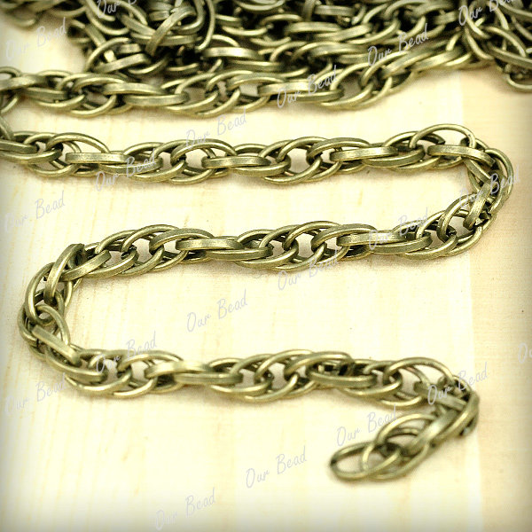 New 2m Antique Bronze Silver Copper Black Iron Curb Chains Unfinished Chain Link