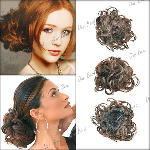 Women-Lady-Clip-on-Dish-Hair-Bun-Tray-Ponytail-Extension-Hairpiece-Wig-Scrunchie