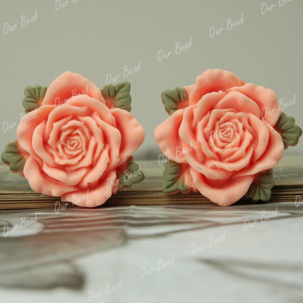 Large Flatback Resin Rose Peony Flower Cabochons Wholesale Card Crafts Choose