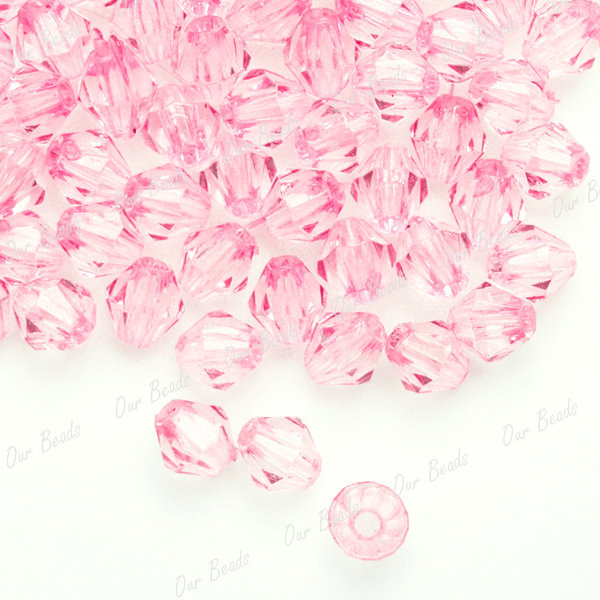 400pcs-10g-Arylic-Pink-Bicone-Facets-Beads-4mm-AR0107