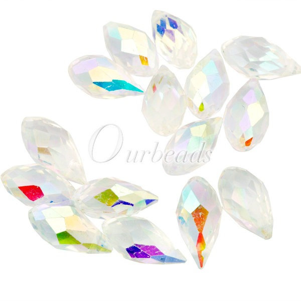 NEW-10PCS-Clear-Crystal-Teardrop-Drop-AB-Effect-CR0240