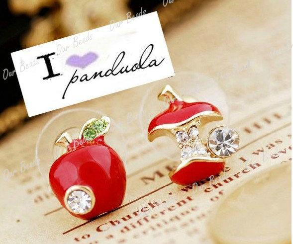 1pair Cute Lovely Crystal Rhinestone Bitten Apple Style Earrings Studs Ear Cuff