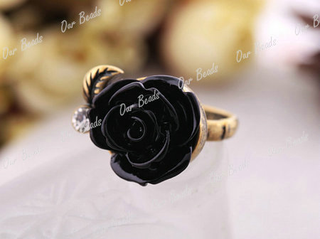 Sweet Cute Retro Vintage Rose Flower with Crystal Rhinestone Adjustable Ring HOT