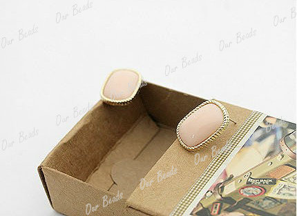 1 Pair Hot Office Lady Girl Rhinestone Gold Frame Rectangle Ear Studs Earrings