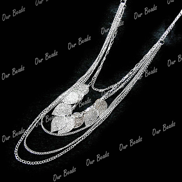 Fashion Women Bohemia Leaf Leaves Multilayer Pendant Long Chain Jewelry Necklace