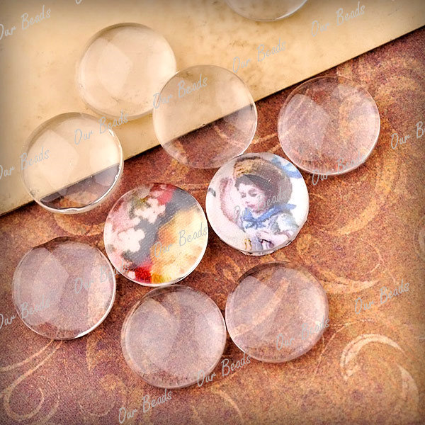 Dome Clear Glass Cabochons Flatback Fit Cameo Settings 10/14/16/18/20/25/30/40mm