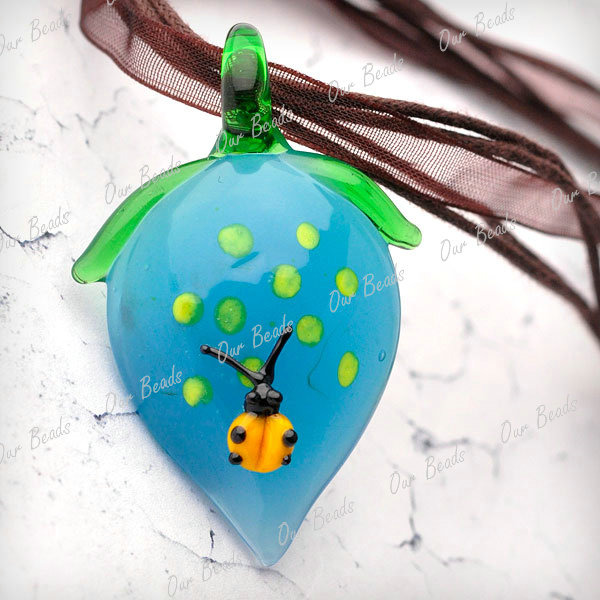 Lampwork-Glass-Blue-Fruit-Strawberry-Bettle-Charm-Pendant-Cord-Necklace-LB0009-4