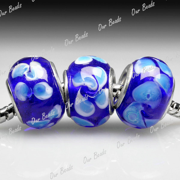 5Blue-Murano-Lampwork-Glass-Round-Bead-Fit-European-Charm-Bracelet-Necklace-LB49