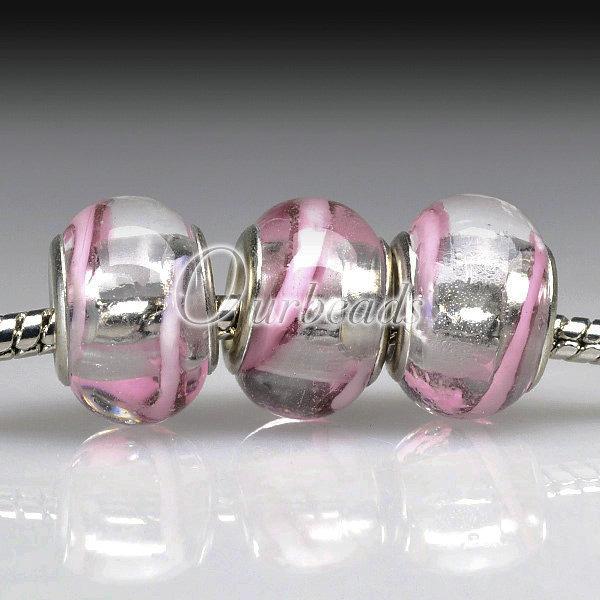 5 Lampwork Glass Bead 5mm Hole Size F European Charm Bracelet Necklace 30 Styles