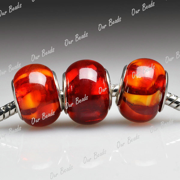 5-Red-Murano-Lampwork-Glass-Round-Bead-Fit-European-Charm-Bracelet-Necklace-LB58