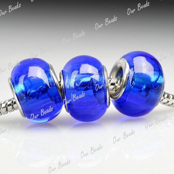 5Blue-Murano-Lampwork-Glass-Round-Bead-Fit-European-Charm-Bracelet-Necklace-LB73