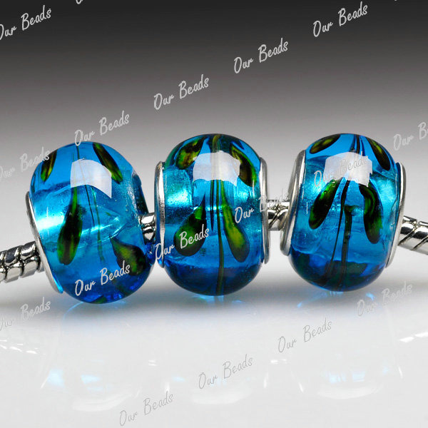 5Blue-Murano-Lampwork-Glass-Round-Bead-Fit-European-Charm-Bracelet-Necklace-LB82