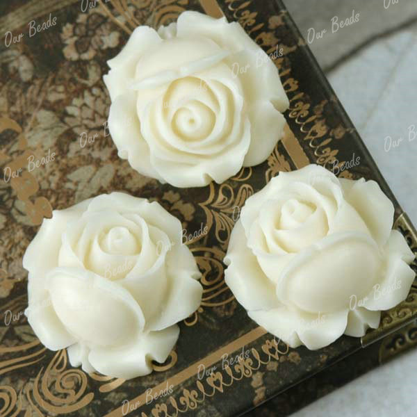 3-Ivory-White-Rose-Resin-Flower-Cabochons-Beads-RB539-1