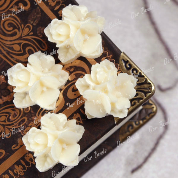 6-PCS-Ivory-White-Resin-Flower-Cabochons-Beads-RB0548-1