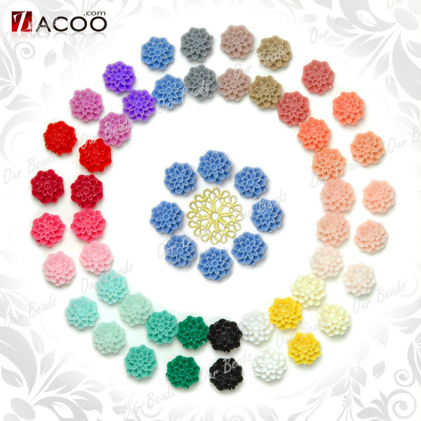 25-Mixed-Assorted-Dahlia-Resin-Flower-Vintage-Style-Cabochon-Bead-Flatback-RB590