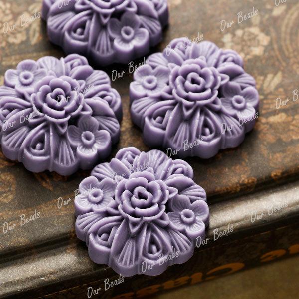 4pcs-Purple-Flatback-Resin-Flower-Cabochon-Bead-RB614-8