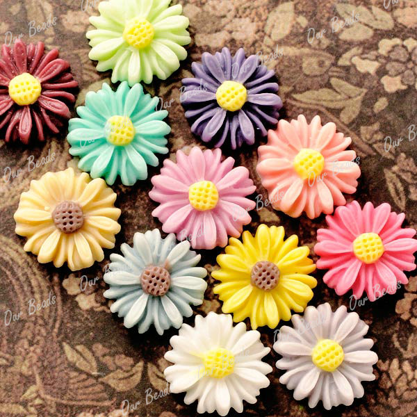 12pcs-Mixed-Resin-Flower-Sunflower-Cabochon-Bead-RB0742